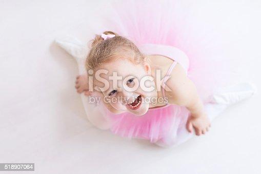 istock Happy little ballerina in pink tutu 518907064