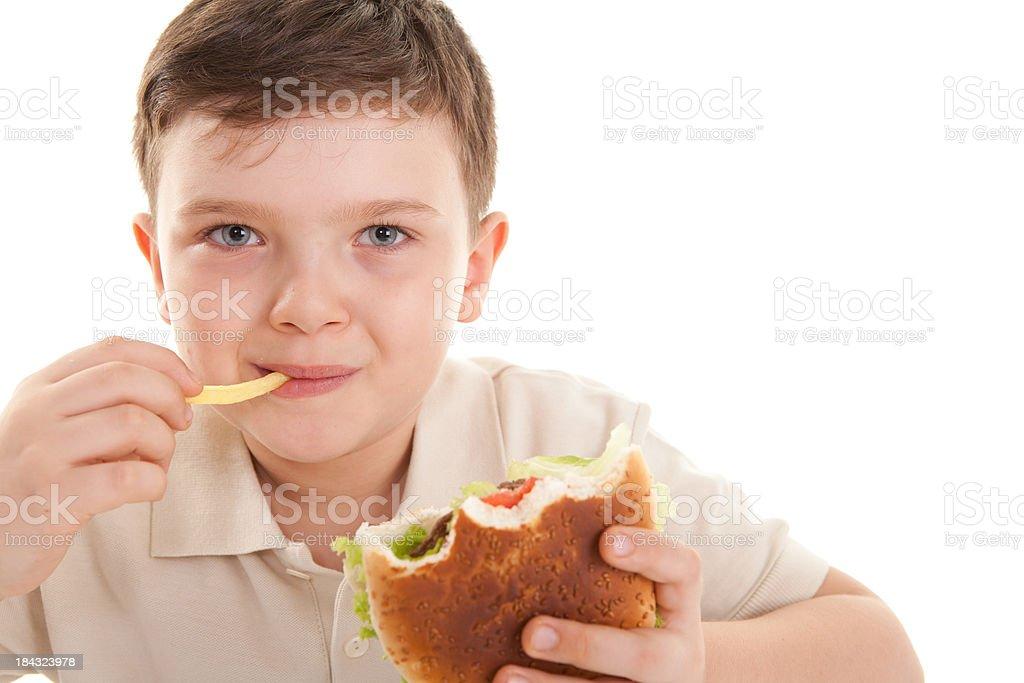 Happy Little Boy and Hamburger stock photo