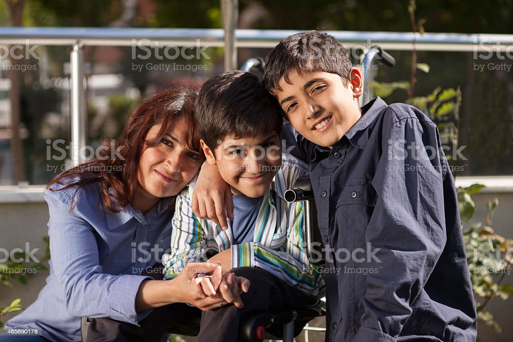 Happy Little Boy and His Family stock photo