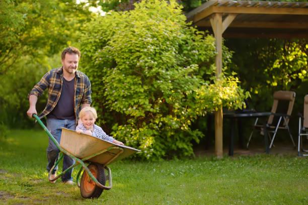 happy little boy plezier in een wheelbarrow duwen door papa in de huiselijke tuin op warme zonnige dag. - kruiwagen met gereedschap stockfoto's en -beelden