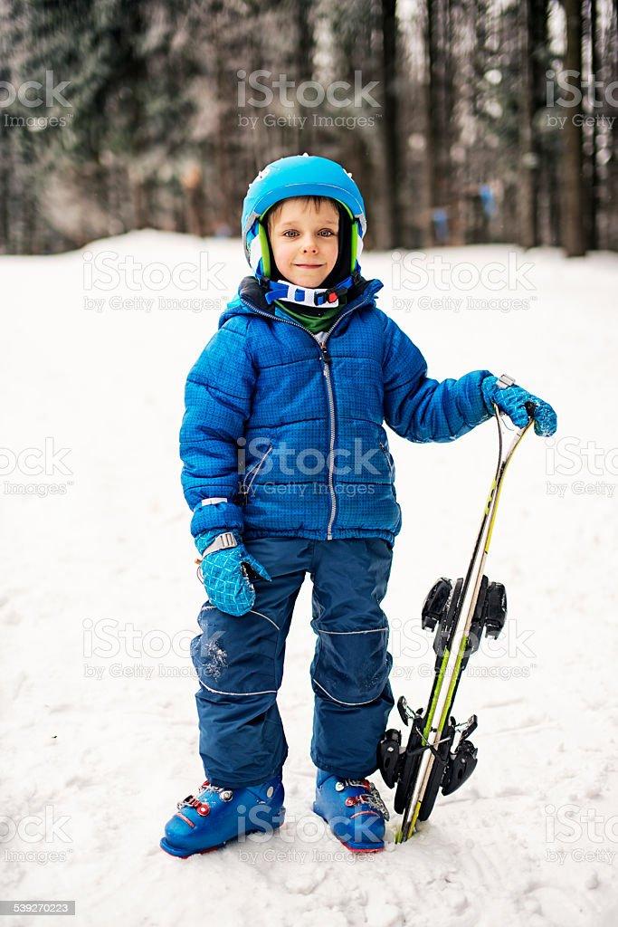 5ac3de6c1c32 Happy Little Boy In Winter Wearing Ski Gear Stock Photo   More ...