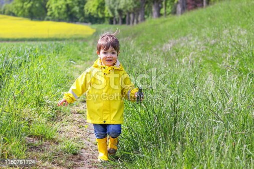 istock Happy little boy in yellow raincoat and muddy rubber boots running on dirt road through green grass near blooming rape seed field holding rhino in hand. Carefree childhood. 1150761724