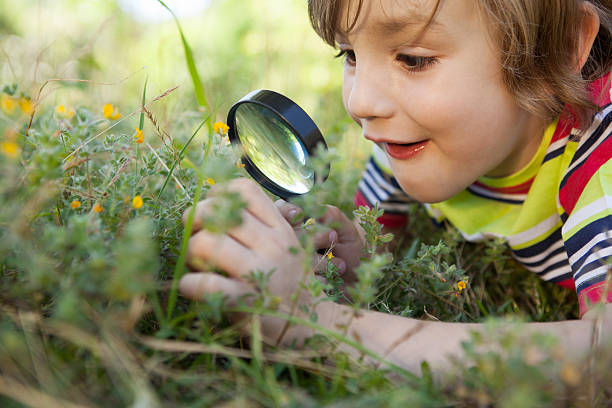 Happy little boy looking through magnifying glass stock photo