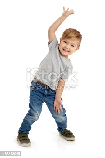 istock Happy Little Boy on White Background 467383049