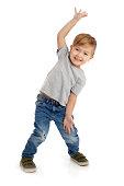 Happy Little Boy on White Background