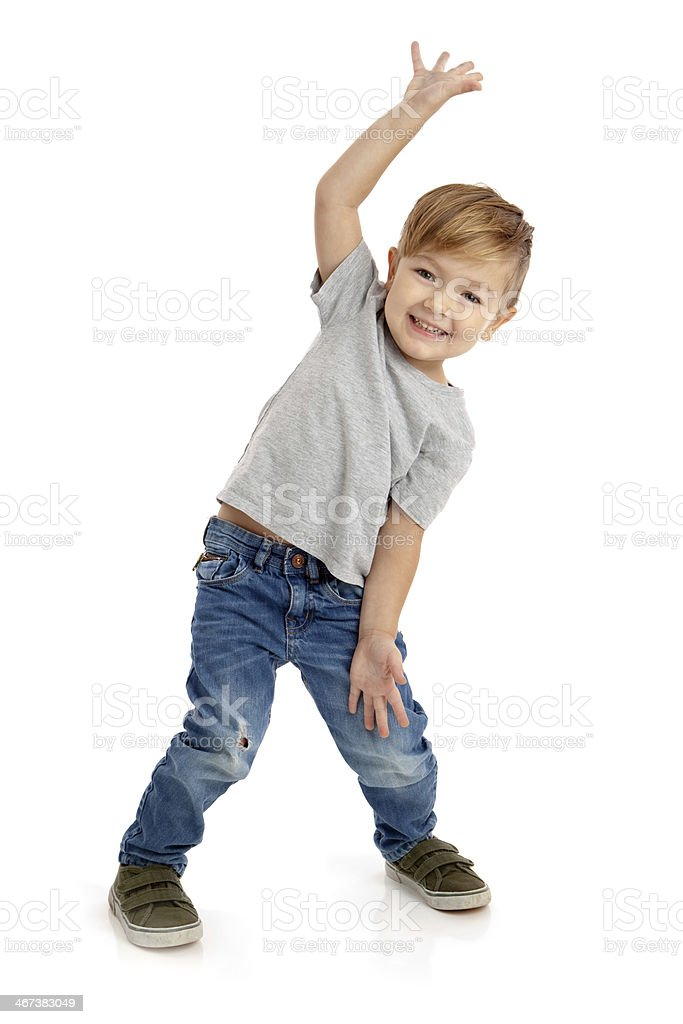 Happy Little Boy on White Background stock photo