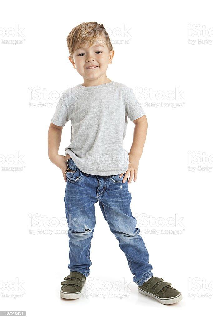Glückliche kleine Junge auf weißem Hintergrund – Foto