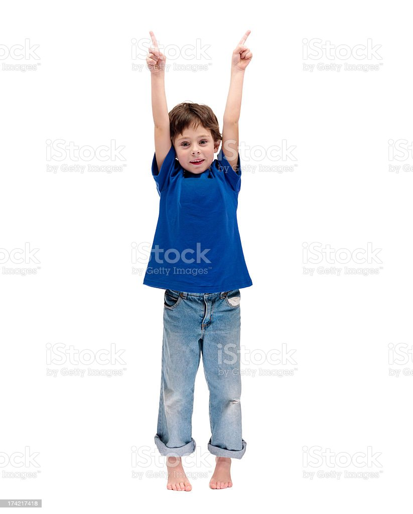 3dd7ba75c8dee Happy Little Boy Standing With Hands Raised Stock Photo & More ...