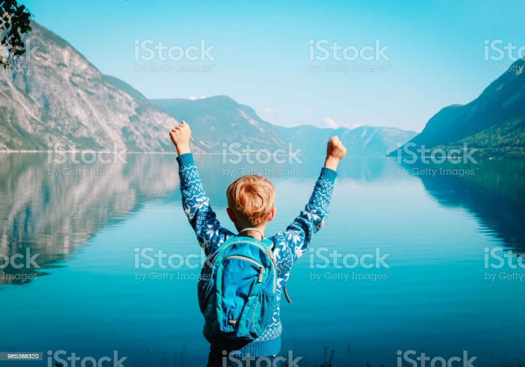 happy little boy travel in scenic nature zbiór zdjęć royalty-free