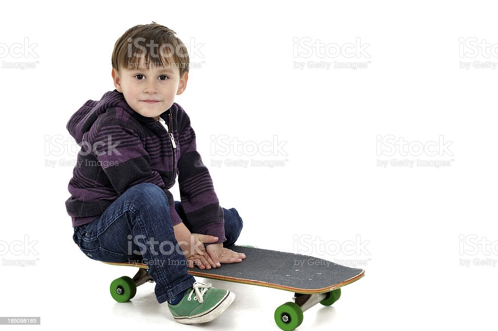 Happy Little Boy with Skateboard royalty-free stock photo