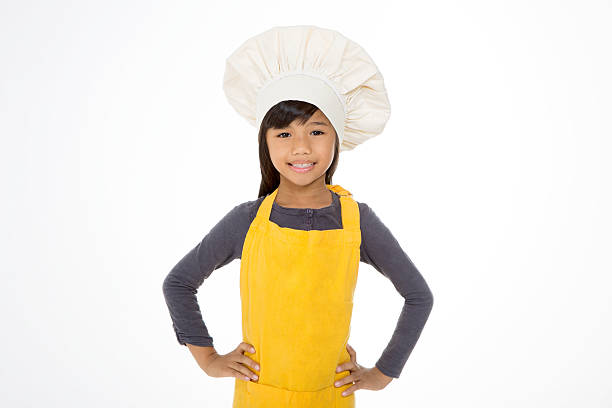 happy little chef on a white background stock photo