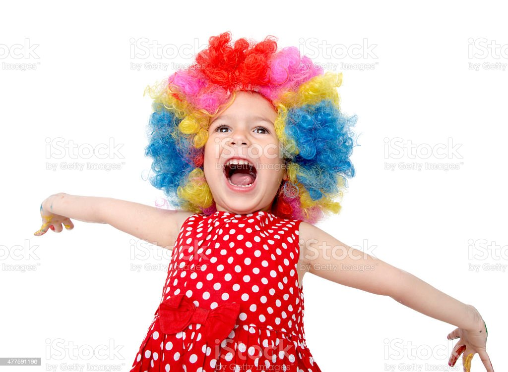 Happy little clown stock photo