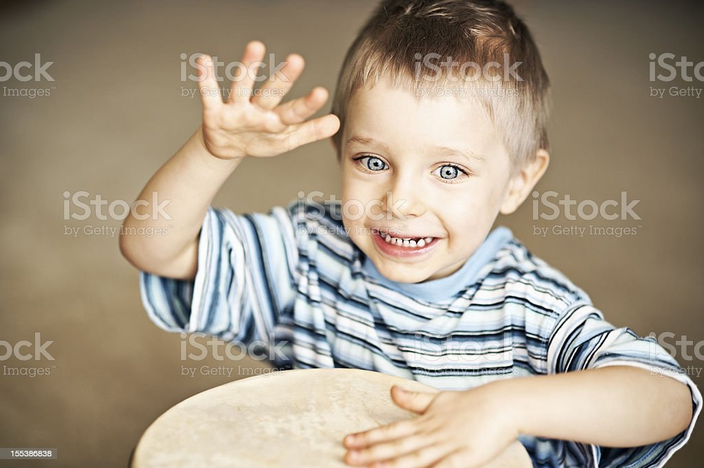 Happy little drummer royalty-free stock photo