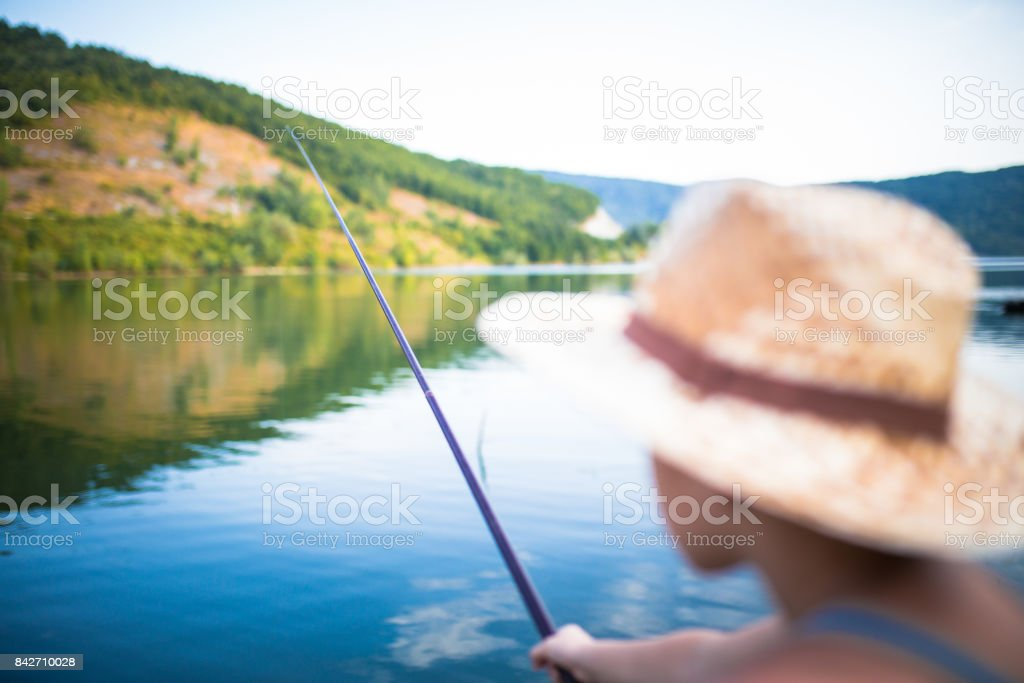 Happy Little Fisherman stock photo