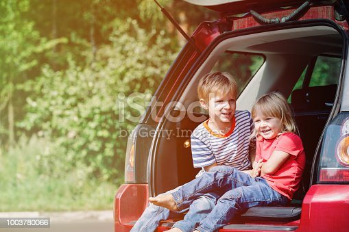 915609494istockphoto happy little girl and boy travel by car 1003780066