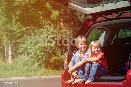 915609494istockphoto happy little girl and boy travel by car 1003780130