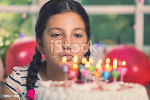 Happy Little Girl Blowing Out Candles On A Birthday Cake Stock Photo More Pictures Of