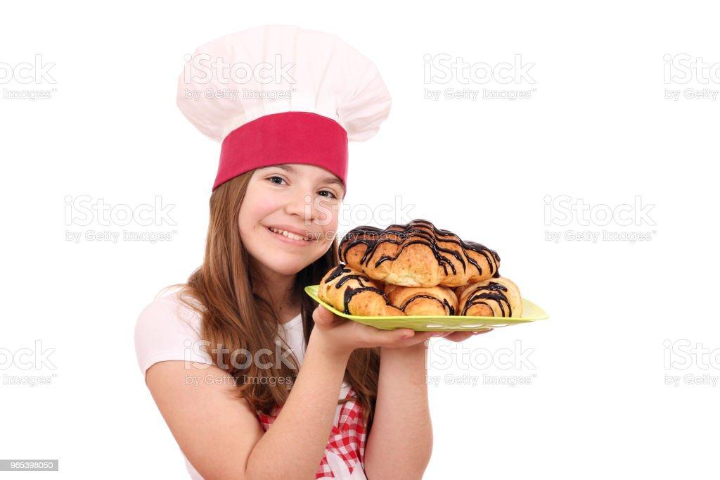 행복 소녀 요리 맛 있는 크로 - 로열티 프리 갈색 스톡 사진