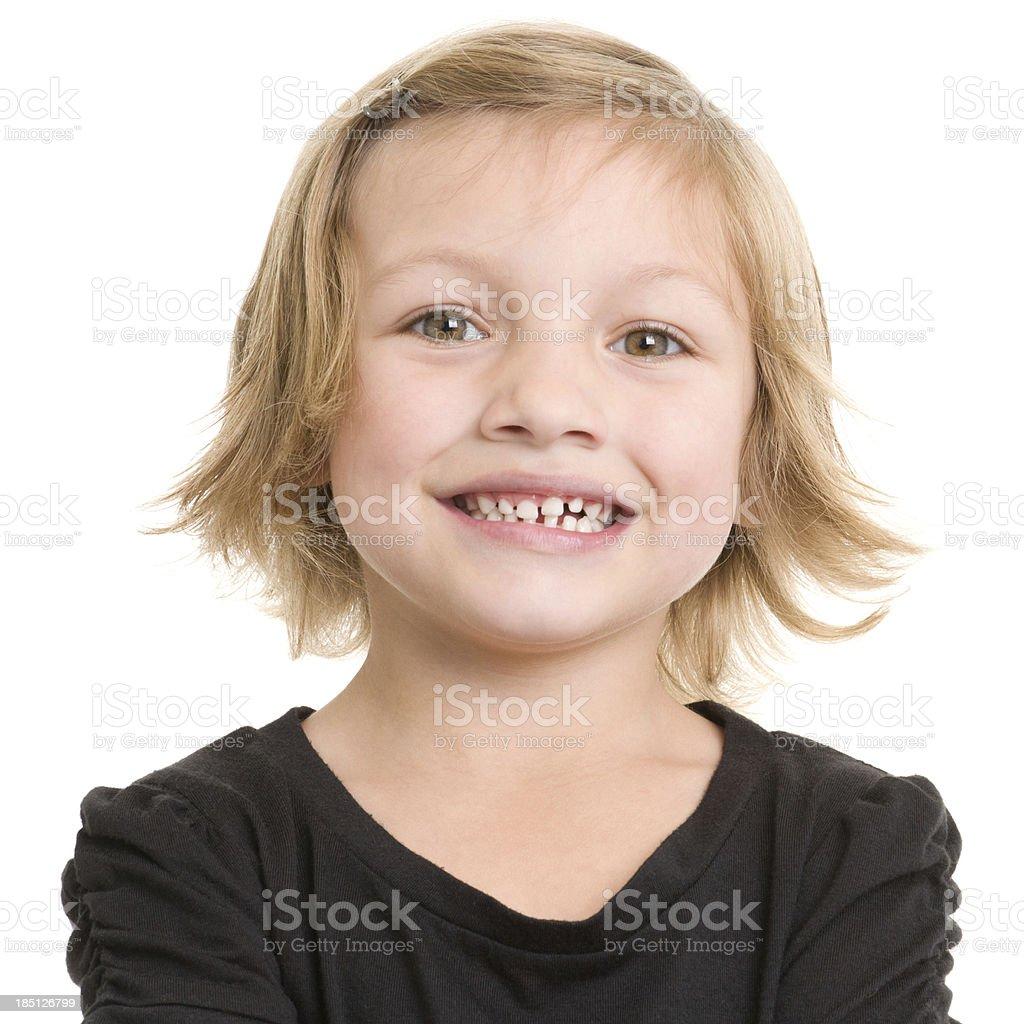 Happy Little Girl Headshot Portrait stock photo