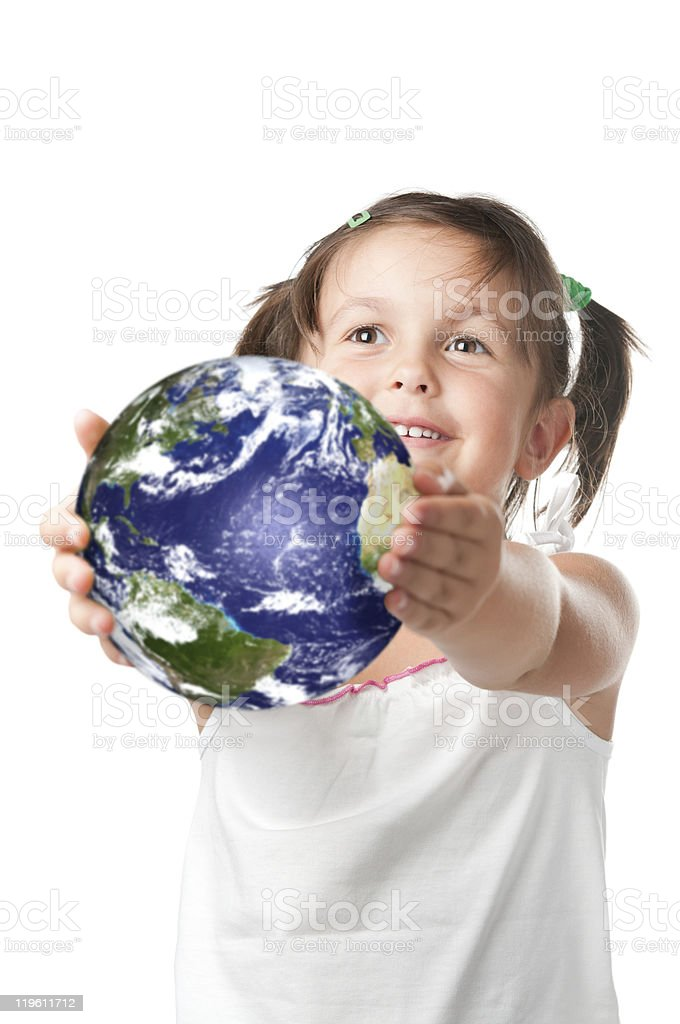 Happy little girl holding planet earth royalty-free stock photo