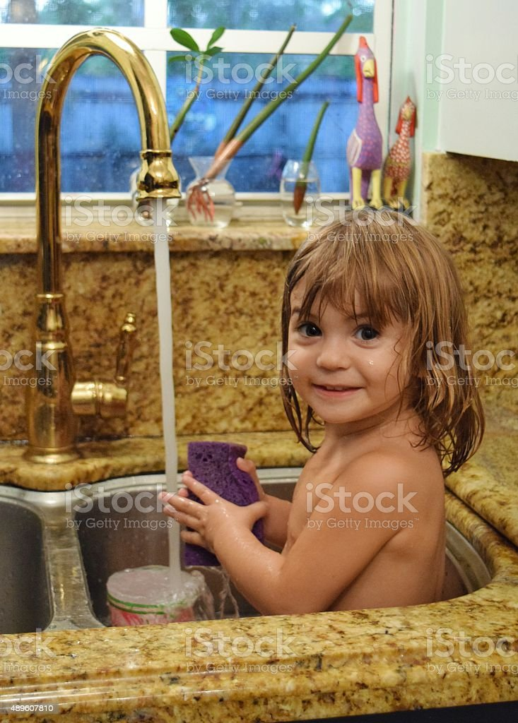 Happy Little Girl In A Sink Bath Stock Photo & More Pictures of 2015 ...