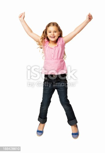 istock Happy Little Girl Jumping - Isolated 155428610