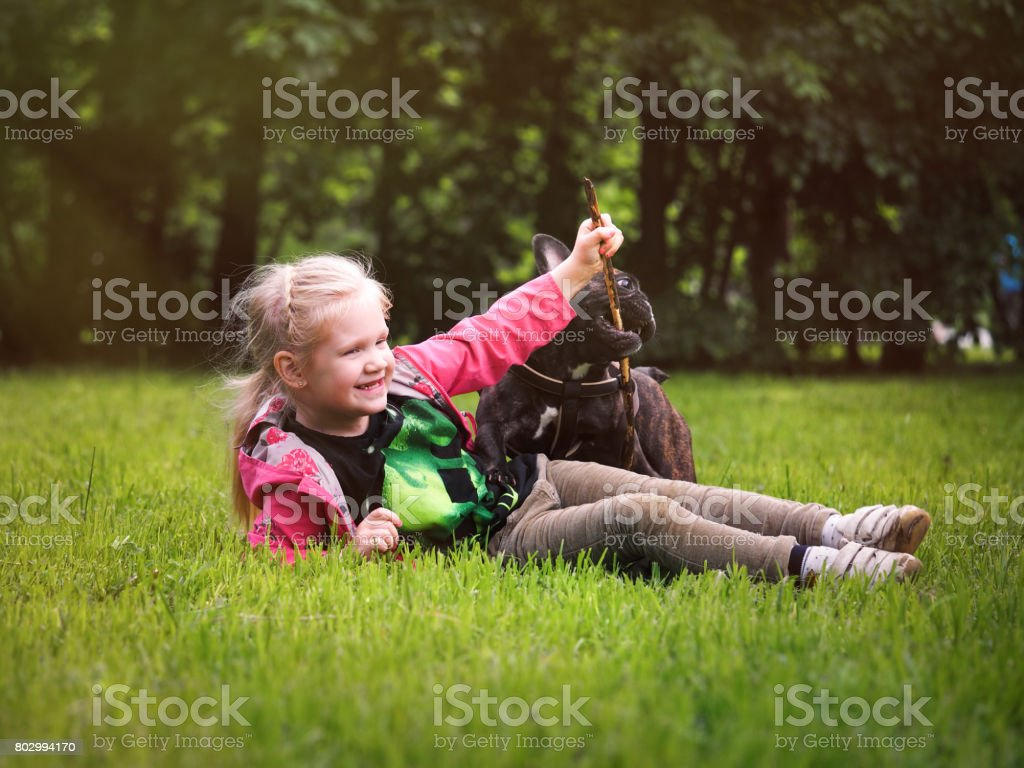 happy little girl playing with a dog. Child lying on green grass, throws the stick. Happiness, a girl laughs loudly stock photo