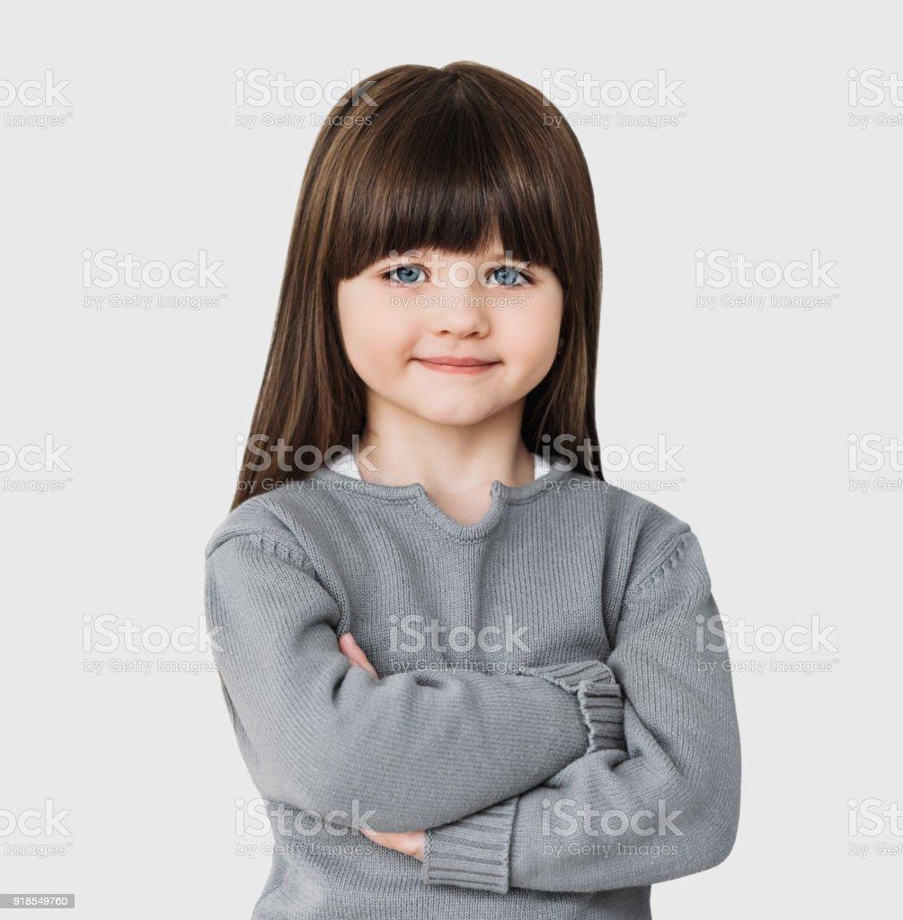 Happy little girl portrait isolated stock photo
