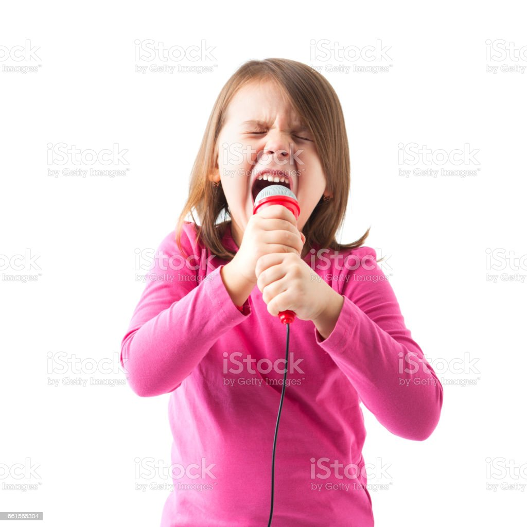 Happy Little Girl Singing Stock Photo - Download Image Now