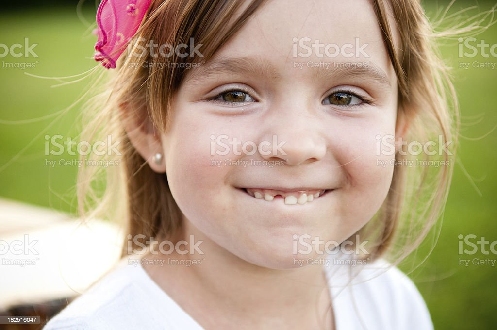 Happy Little Girl Smiling with Missing Tooth royalty-free stock photo
