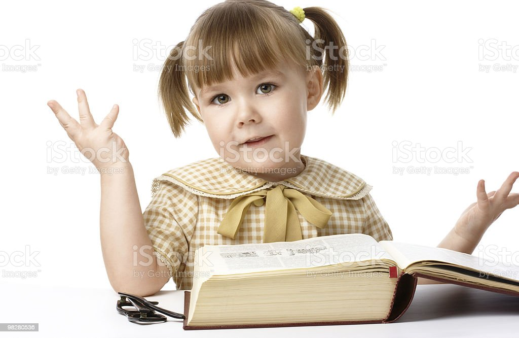 Happy little girl with book, back to school royalty-free stock photo