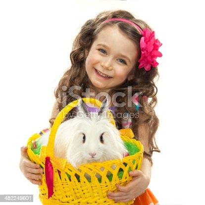 istock Happy little girl with easter rabbit 482249601