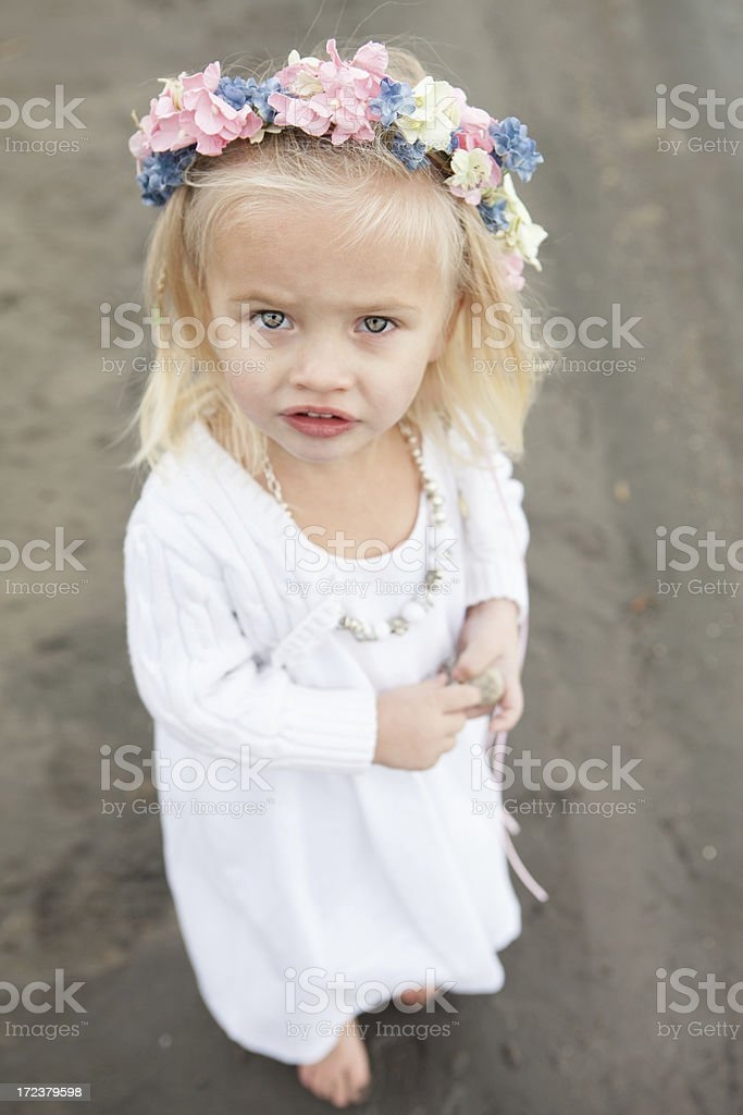 Happy Little Girl With Flowers in Hair royalty-free stock photo