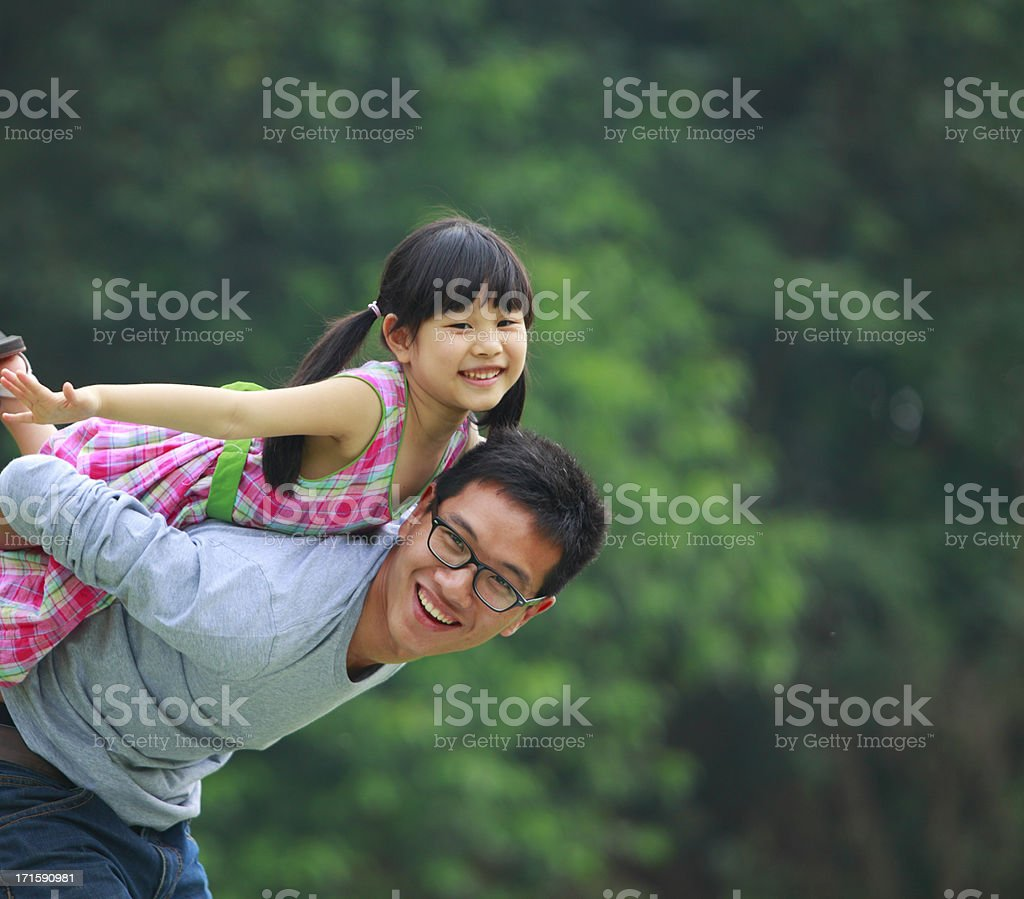 happy little girl with her father stock photo
