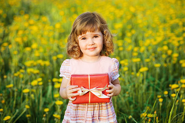 happy little girl with present - little girls giving head stock photos and pictures