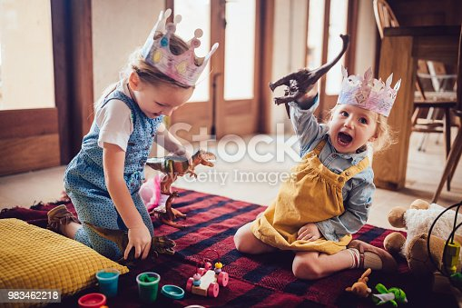 Happy little sisters having fun sitting on carpet and playing together with toys at home