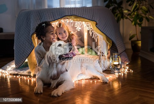 Happy black girl and her friend enjoying while relaxing with their dog in a tent at home.