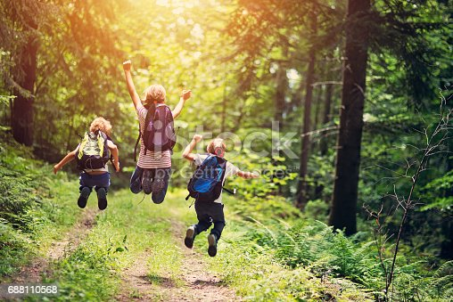 istock Happy little hikers jumping with joy 688110568