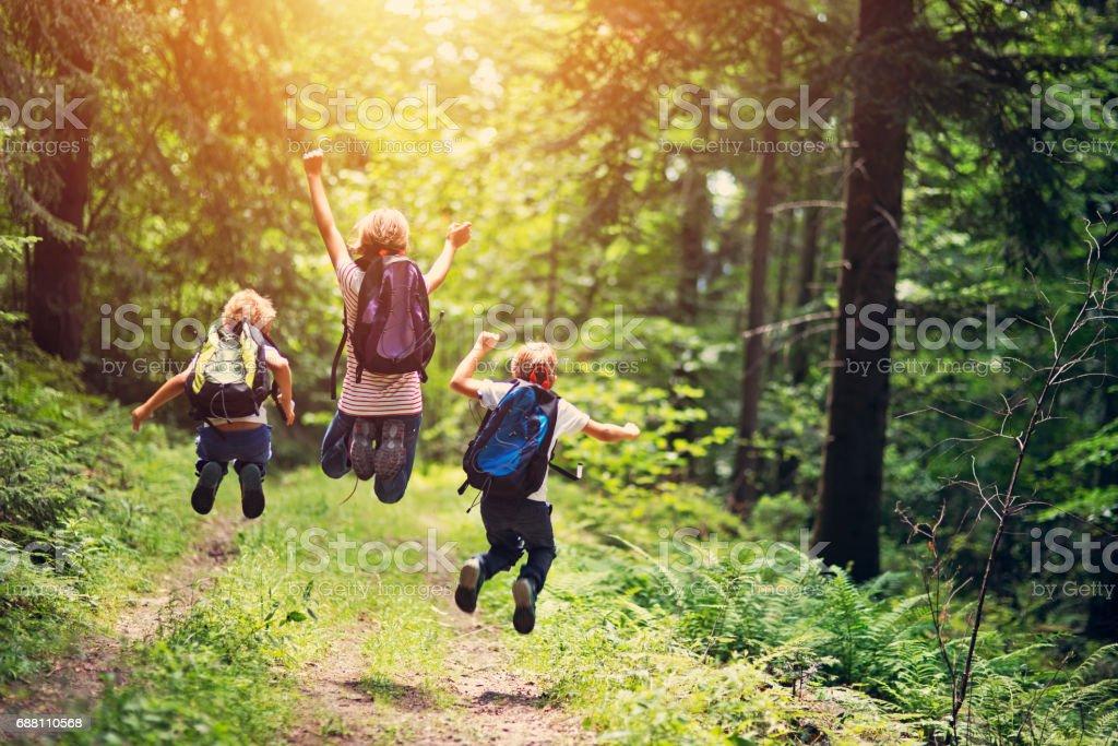 Gelukkig weinig wandelaars springen van vreugde foto