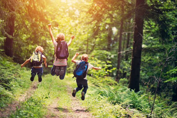 Happy little hikers jumping with joy stock photo