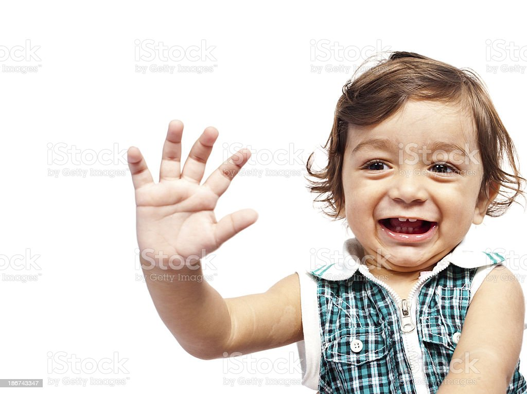 Happy Little Indian Boy Child waving at camera royalty-free stock photo