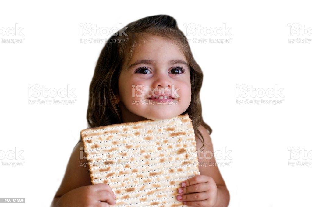 Happy little Jewish girl on Passover Jewish holiday - foto de stock