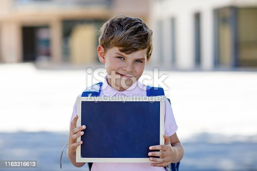 istock Happy little kid boy with backpack or satchel and glasses. Schoolkid on the way to school. Healthy adorable child outdoors. Empty chalk desk for copy space in hands. School's out or back to school 1163316613