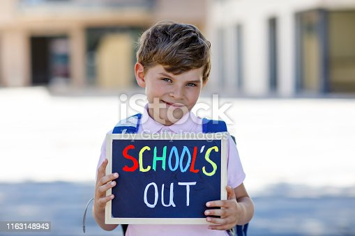 istock Happy little kid boy with backpack or satchel. Schoolkid on the way to school. Healthy adorable child outdoors With chalk desk for copyspace. Back to school or school's out. 1163148943