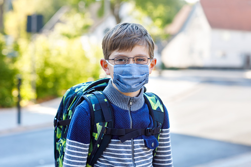 Happy little kid boy with glasses, medical mask and backpack or satchel. Schoolkid on way to school. Healthy adorable child outdoors. Back to school after quarantine time from corona pandemic disease