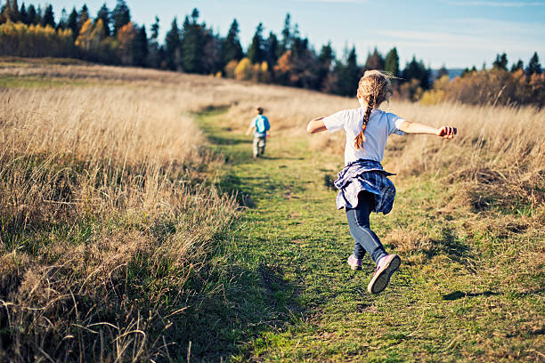 happy little kids hiking - rural lifestyle stock photos and pictures