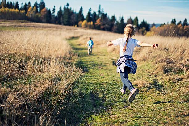Happy little kids hiking stock photo