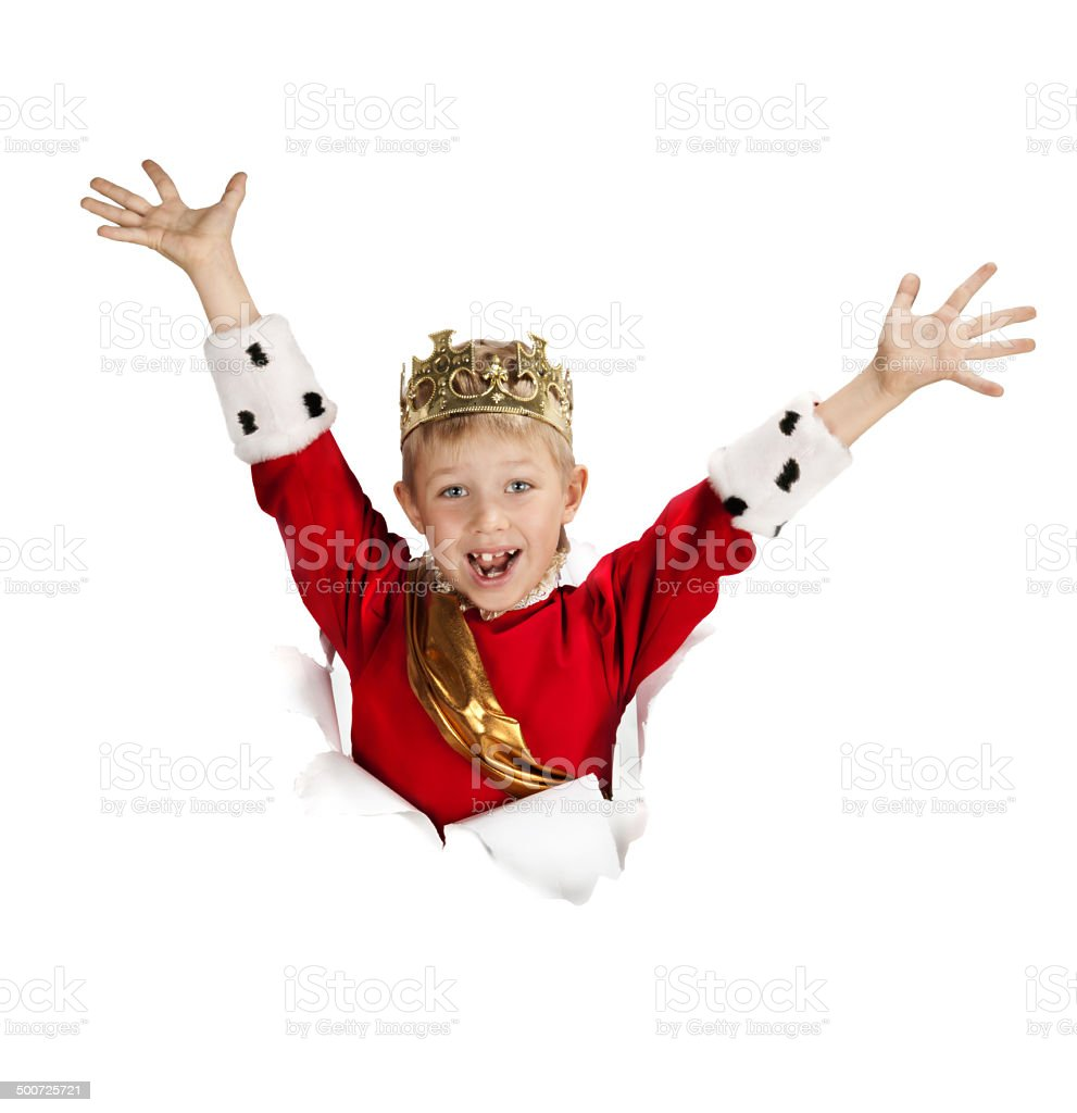 Happy  Little King Looking out from the Paper stock photo