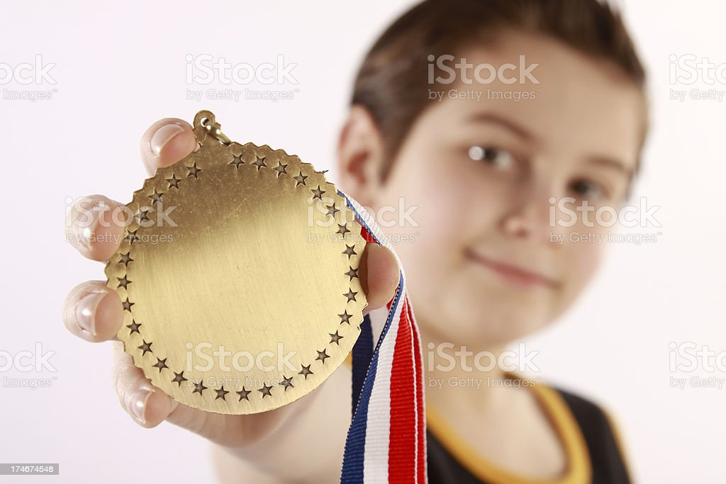 Happy Little Medal Winner royalty-free stock photo
