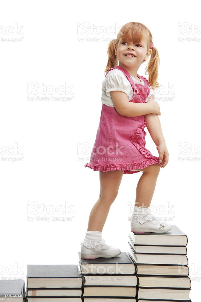 Happy little school girl royalty-free stock photo